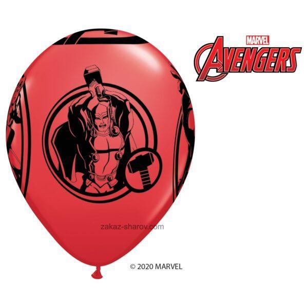 Шарик с принтом супергероев мстителей - Красный