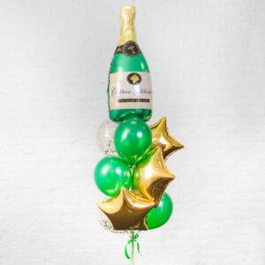 Композиция из гелиевых шариков с шампанским