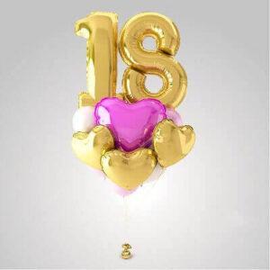 Комплект золотых шариков с цифрами