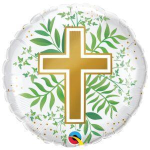 Шар с рисунком - золотой крест и зелень крестины