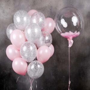 Баблс с перьями + облако из 18 шаров