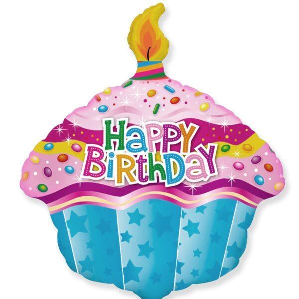 Шарик ы форме кекса со свечей на день рождения