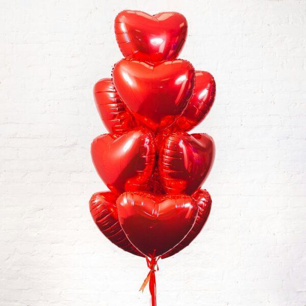 Фольгированные шарики красные сердечки