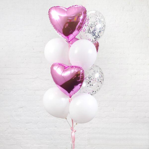 Композиция из воздушных шаров «Сердечно-розовая»
