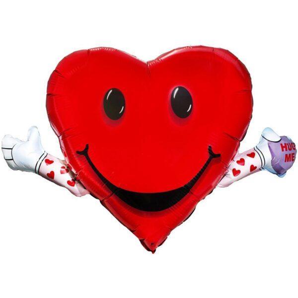 Шарик в форме сердца с надписью «Обними меня»