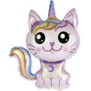 Шар кошка-единорог розовый