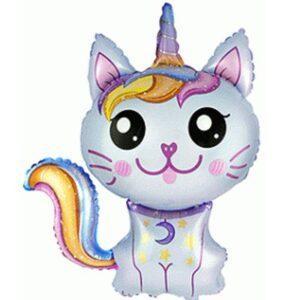 Шар кошка-единорог голубая